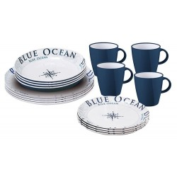 Melaminski set tanjura i šalica Blue ocean